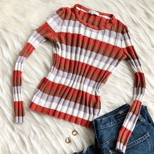Madewell Striped Long Sleeve Ribbed Top